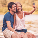 Reizendes selfie Stockfoto