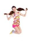 Reizendes Springen des jungen Mädchens Stockbild