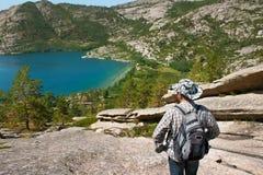 Reiziger in bergen Stock Foto's