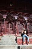 Reiziger in Durbar-vierkant in Katmandu Nepal Stock Fotografie