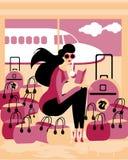 reiziger Kaukasische jonge vrouwenzitting in luchthavenwachtkamer royalty-vrije illustratie