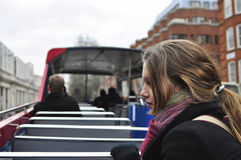 Reiziger op tourbus Stock Afbeeldingen