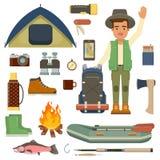 Reizigersmens met rugzak en reeks van het kamperen materiaal Stock Afbeelding