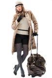 Reizigersvrouw met een zak Royalty-vrije Stock Foto