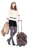 Reizigersvrouw met een zak Royalty-vrije Stock Fotografie