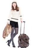Reizigersvrouw met een zak Stock Afbeelding