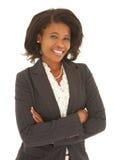 Reizvolle afrikanische Geschäftsfrau stockfotografie