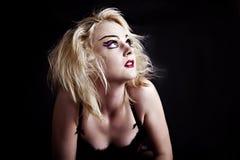 Reizvolle blonde Frau in der Unterwäsche Stockbilder