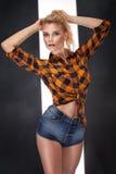 Reizvolle blonde Frau, die im Studio aufwirft Lizenzfreie Stockfotos