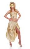 Reizvolle blonde Frau mit einer goldenen Schablone Stockfotos