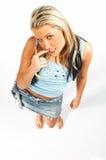 Reizvolle blonde vorbildliche Ausdrücke Stockfotografie