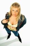 Reizvolle blonde vorbildliche Ausdrücke 6 Stockfoto