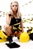 Reizvolle blonde weibliche Arbeitskraft Stockfotografie