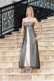 Reizvolle Blondine in einem Abend-Kleid (1) Lizenzfreies Stockbild