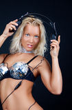 Reizvolle Blondine mit Kopfhörern Lizenzfreie Stockbilder
