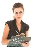 Reizvolle Brunettegeschäftsfrau stockfotos