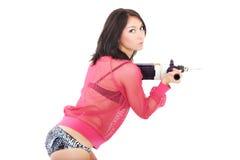 Reizvolle Dame mit einem Bohrgerät Lizenzfreie Stockfotografie