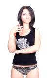 Reizvolle Dame mit Zangen Stockfoto