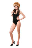 Reizvolle Dame tragender Badeanzug und Pelzschutzkappe stockbilder