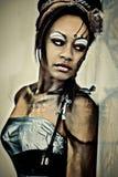 Reizvolle erwachsene Fantasie Cybrog abstraktes Portrait stockfotos