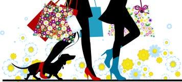 Reizvolle Fahrwerkbeine der Frau mit Beuteln. Einkaufen. Stockbild