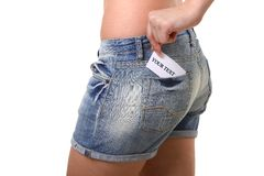 Reizvolle Frau in den Jeans Lizenzfreies Stockfoto