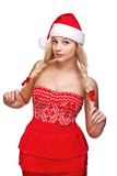 Reizvolle Frau gekleidet als Weihnachtsmann lizenzfreies stockbild