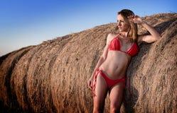 Reizvolle Frau im Bikini Stockfoto