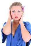 Reizvolle Frau im Blau Lizenzfreie Stockbilder