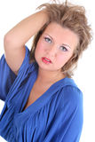 Reizvolle Frau im Blau Lizenzfreies Stockfoto