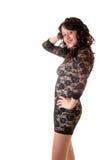 Reizvolle Frau im Profil. Stockfotografie