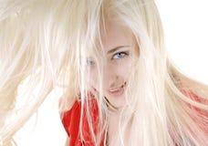 Reizvolle Frau mit dem langen weißen Haar Stockfotografie
