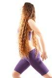 Reizvolle Frau mit den langen Haaren auf Yogahaltung Lizenzfreies Stockbild