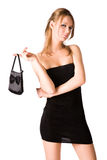 Reizvolle Frau mit Handtasche Lizenzfreies Stockfoto