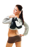 Reizvolle Frau mit Verpackenhandschuhen Stockbilder