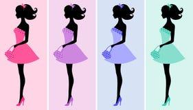 Reizvolle Frauenschattenbilder Lizenzfreie Stockbilder