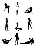 Reizvolle Frauenschattenbilder Stockbild