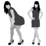 Reizvolle Frauenschattenbilder Stockfoto