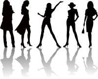 Reizvolle Frauenschattenbilder - Vektor Lizenzfreies Stockfoto