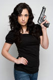 Reizvolle Gewehr-Frau stockfotos