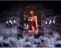 Reizvolle gotische Frau mit Schlange Lizenzfreie Stockfotografie