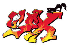 Reizvolle Graffiti Stockfotos