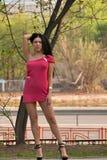 Reizvolle junge Frau draußen Stockbilder