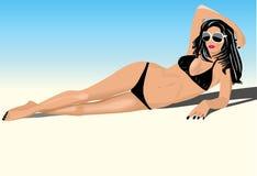 Reizvolle junge Frau im Bikini Stockfotografie