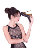 Reizvolle junge Frau im Kleid stockfotografie