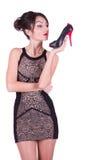 Reizvolle junge Frau mit schönen Schuhen lizenzfreie stockfotos