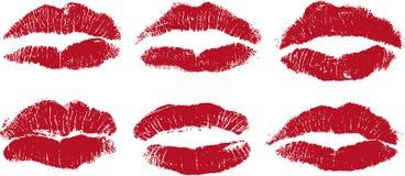 Reizvolle Lippenküsse im Rot Stockbilder