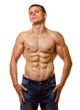 Reizvolle nasse blanke Aufstellung des jungen Mannes des Muskels Lizenzfreies Stockbild