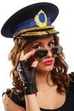 Reizvolle Polizeibeamtefrau stockfotografie