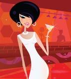 Reizvolle Retro- Frau im Nachtclub Lizenzfreies Stockfoto